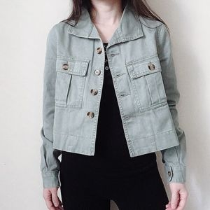 NWT Sage Green wash crop hi-low denim jacket